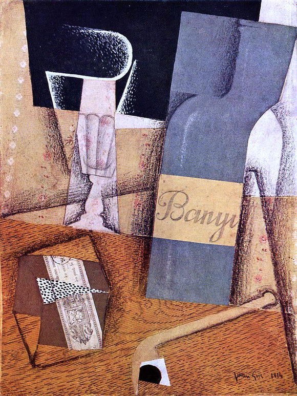 Juan Gris The Bottle of Banyuls - Canvas Art Print