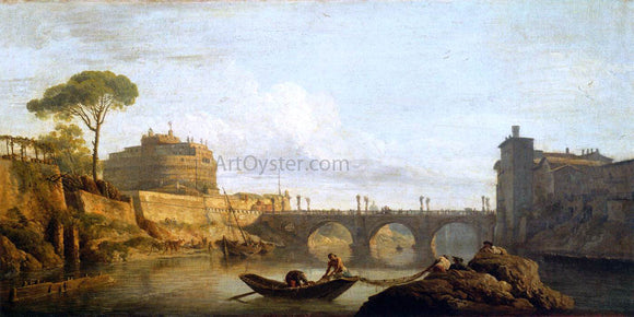 Claude-Joseph Vernet The Bridge and the Castel Sant'Angelo in Rome - Canvas Art Print