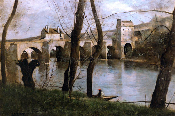 Jean-Baptiste-Camille Corot The Bridge at Mantes - Canvas Art Print