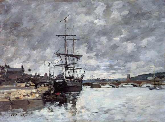 Eugene-Louis Boudin The Bridge over the Toques at Trouville - Canvas Art Print