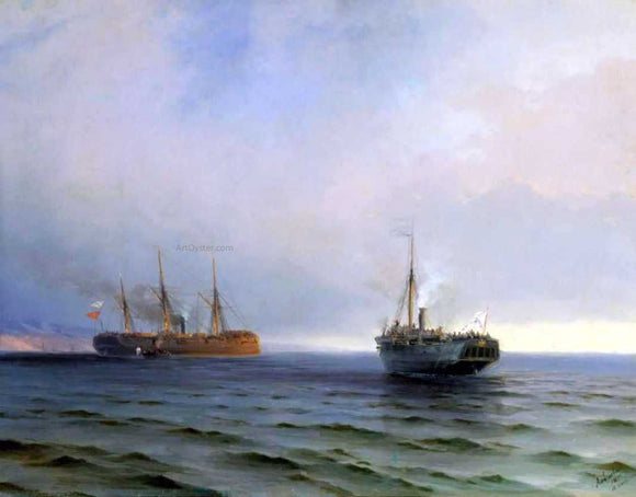 Ivan Constantinovich Aivazovsky The Capture of Turkish Nave on Black Sea - Canvas Art Print