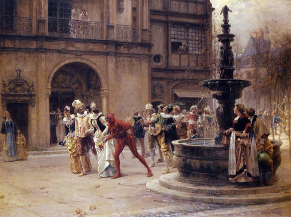 Adrien Moreau The Carnival Procession - Canvas Art Print