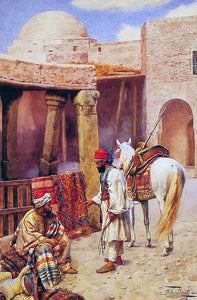 Giulio Rosati A Carpet Seller - Canvas Art Print