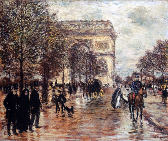 Jean-Francois Raffaelli The Champs-Elysees, The Arc de Triompne - Canvas Art Print