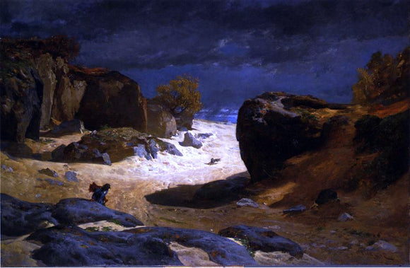 Jules Joseph Augustin Laurens The Chemin des Sables at Fountainebleau, Storm Effect - Canvas Art Print
