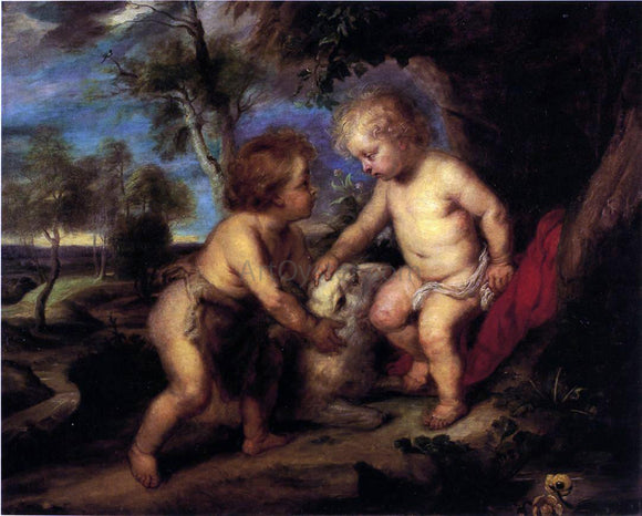 Theodore Clement Steele The Christ Child and the Infant St. John after Rubens - Canvas Art Print
