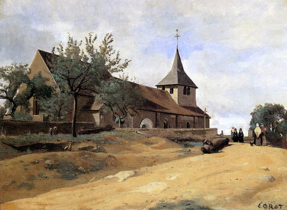 Jean-Baptiste-Camille Corot The Church at Lormes - Canvas Art Print