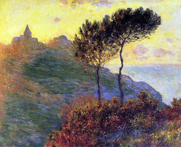 Claude Oscar Monet The Church at Varengeville, against the Sunset - Canvas Art Print