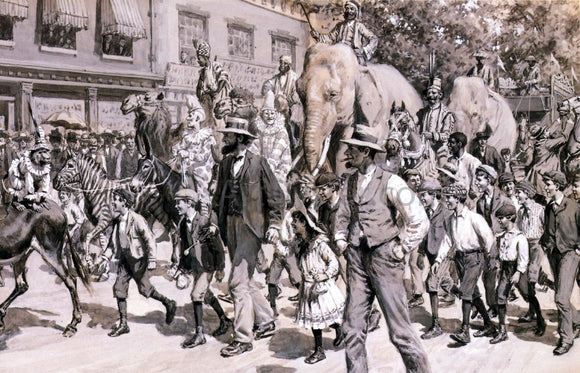 Arthur B Frost The Circus is in Town - Canvas Art Print