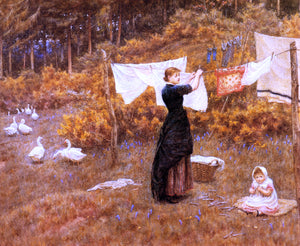 Helen Allingham The Clothes Line - Canvas Art Print