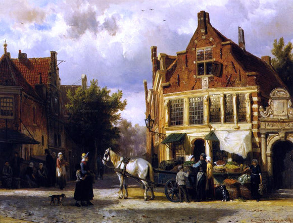Cornelis Springer The Corner of Westerstraat and Tabakstraat in Enkhuizen - Canvas Art Print