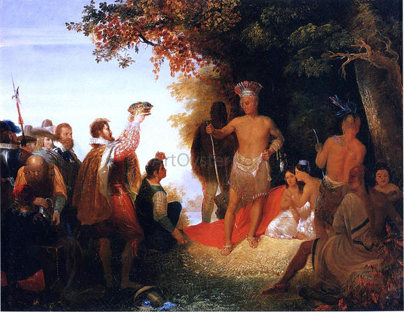 John Gadsby Chapman The Coronation of Powhatan - Canvas Art Print
