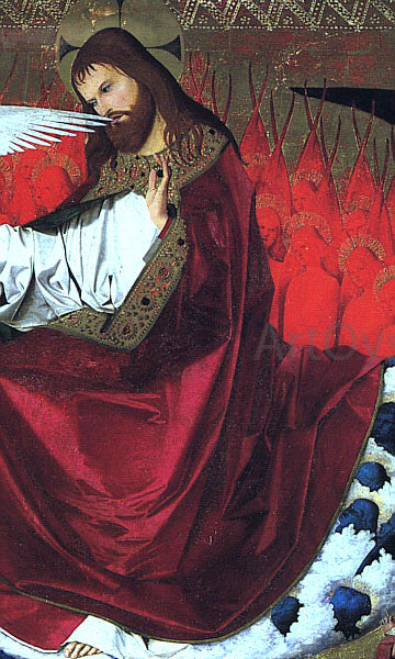 Enguerrand Charonton The Coronation of the Virgin, detail: Jesus - Canvas Art Print