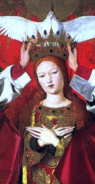 Enguerrand Charonton The Coronation of the Virgin, detail: the Virgin - Canvas Art Print