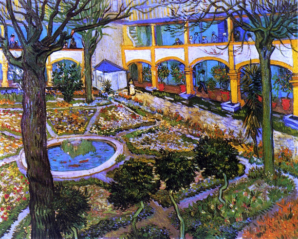 Vincent Van Gogh The Courtyard of the Hospital at Arles - Canvas Art Print
