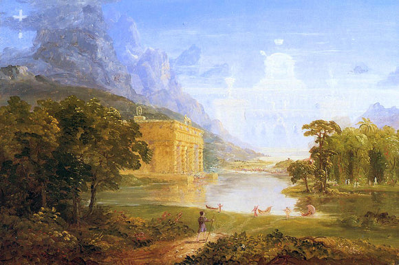 Thomas Cole The Cross and the World: Study for 'The Pilgrim of the World on His Journey' - Canvas Art Print