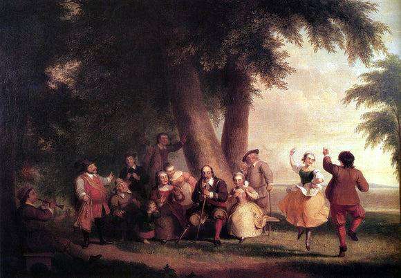 Asher Brown Durand The Dance Of The Battery In The Presence Of Peter Stuyvesant - Canvas Art Print