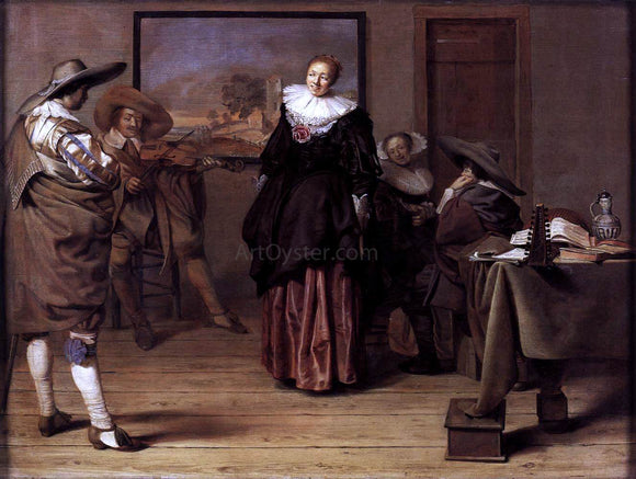 Pieter Codde The Dancing Lesson - Canvas Art Print
