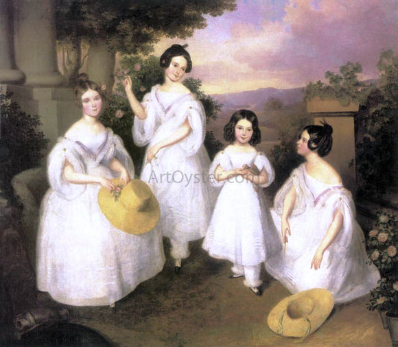 Karoly Brocky The Daughters of Istvan Medgyasszay - Canvas Art Print