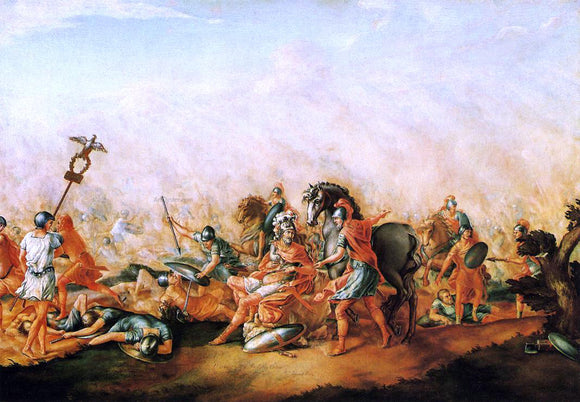 John Trumbull The Death of Paulus Aemilius at the Battle of Cannae - Canvas Art Print