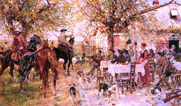 Raffaelo Sorbi The Departure of the Hunting Party - Canvas Art Print