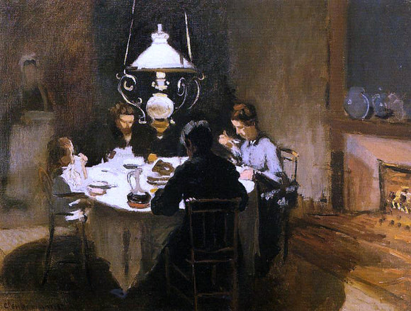 Claude Oscar Monet The Dinner - Canvas Art Print