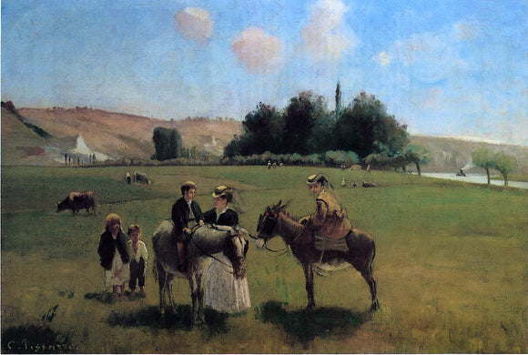 Camille Pissarro The Donkey Ride at Le Roche Guyon - Canvas Art Print