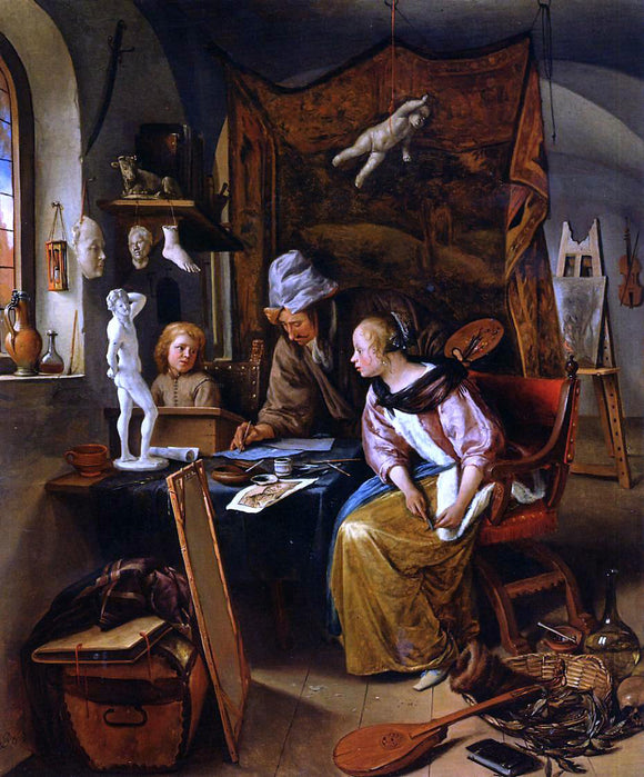 Jan Steen The Drawing Lesson - Canvas Art Print