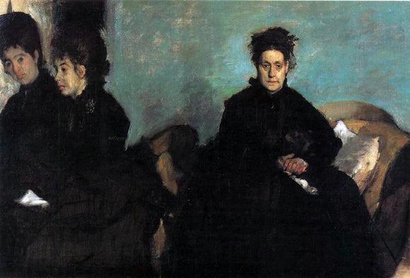 Edgar Degas The Duchess di Montajesi with Her Daughters, Elena and Camille - Canvas Art Print