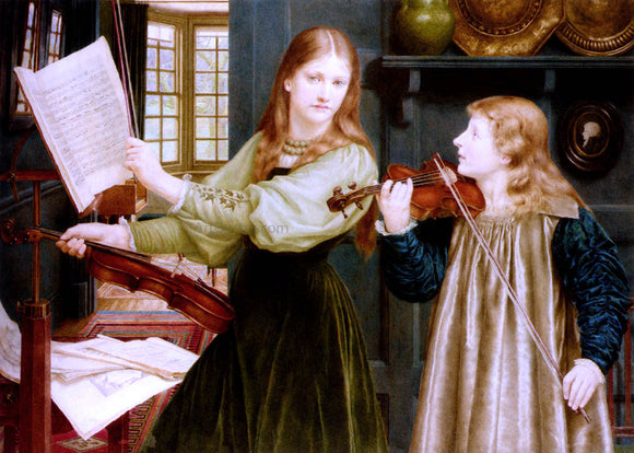 Henry Holiday The Duet, Portrait Of Alexandra, Daughter Of Rev. G. Kitchin And Winifrid, Daughter Of The Painter - Canvas Art Print