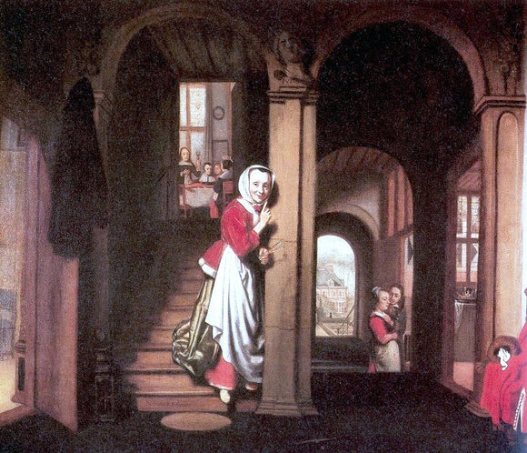 Nicolaes Maes The Eavesdropper - Canvas Art Print