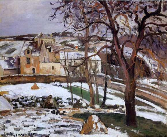 Camille Pissarro The Effect of Snow at l'Hermitage, Pontoise - Canvas Art Print