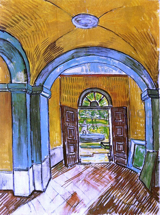 Vincent Van Gogh The Entrance Hall of Saint-Paul Hospital - Canvas Art Print
