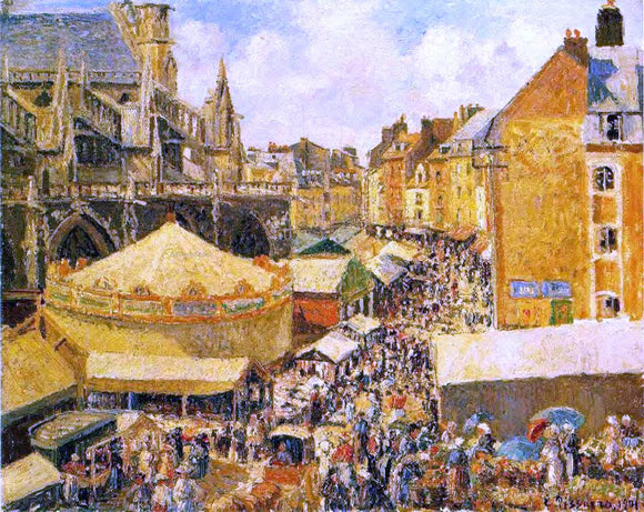 Camille Pissarro The Fair in Dieppe: Sunny Morning - Canvas Art Print