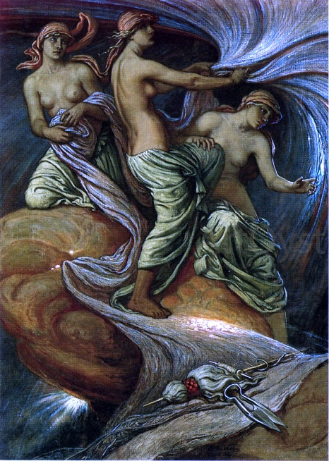 Elihu Vedder The Fates Gathering in the Stars - Canvas Art Print