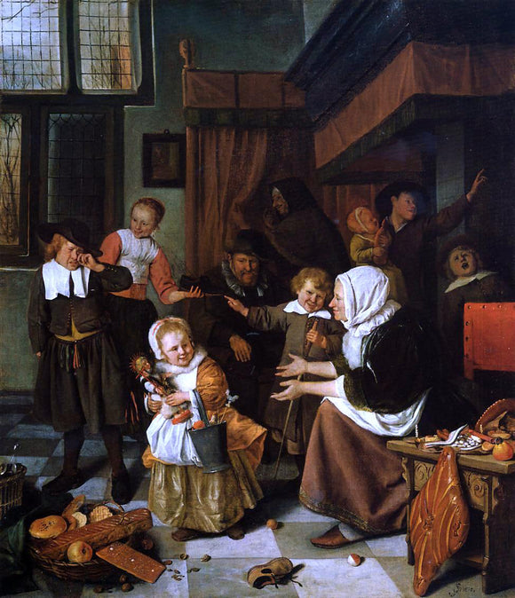 Jan Steen The Feast of Saint Nicholas - Canvas Art Print