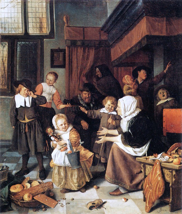 Jan Steen The Feast of St Nicholas - Canvas Art Print