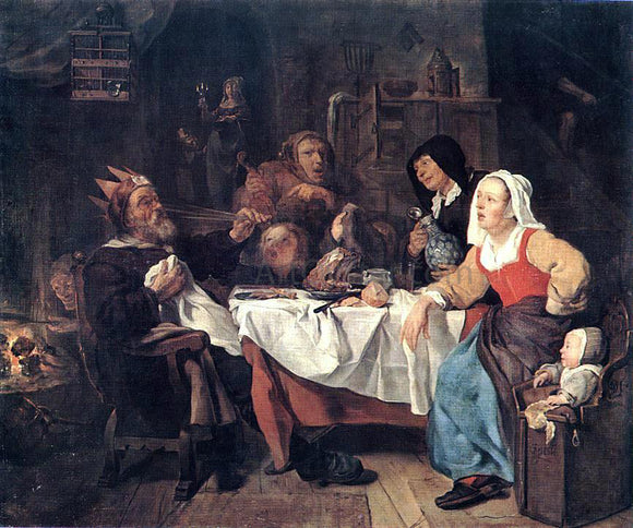 Gabriel Metsu The Feast of the Bean King - Canvas Art Print