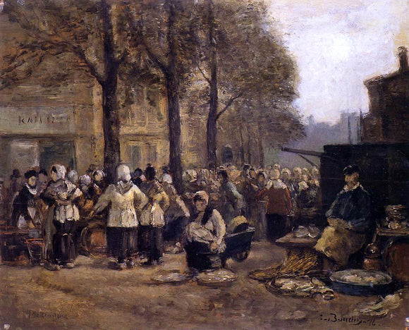 Eugene-Louis Boudin The Fish Market, Rotterdam - Canvas Art Print