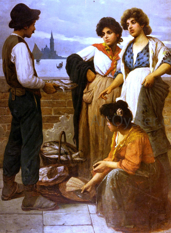 Luigi Pastega The Fish Seller - Canvas Art Print