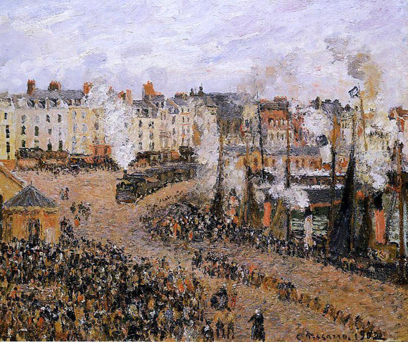 Camille Pissarro The Fishmarket, Dieppe - Canvas Art Print