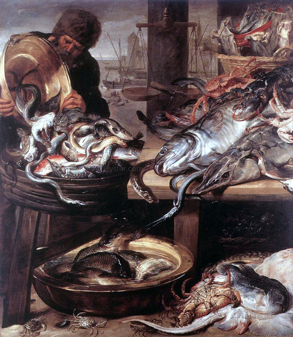 Frans Snyders The Fishmonger - Canvas Art Print