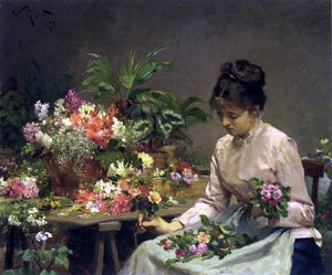 Victor Gabriel Gilbert The Flower Seller - Canvas Art Print