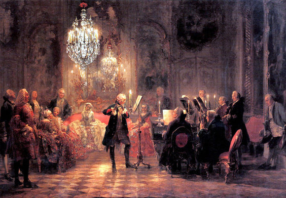 Adolph Von Menzel The Flute Concert - Canvas Art Print