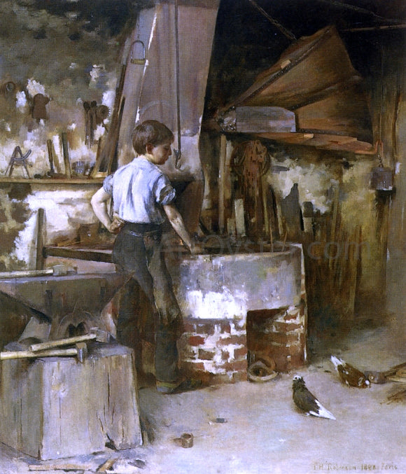 Theodore Robinson The Forge (also known as An Apprentice Blacksmith) - Canvas Art Print