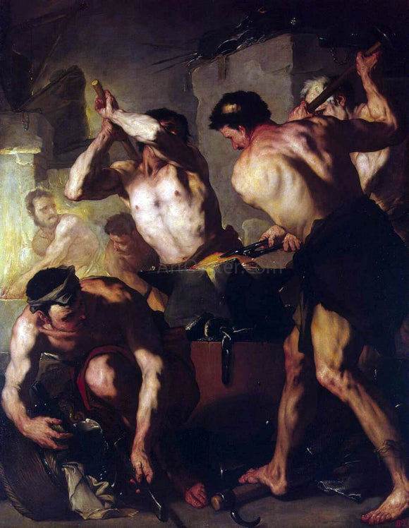 Luca Giordano The Forge of Vulcan - Canvas Art Print