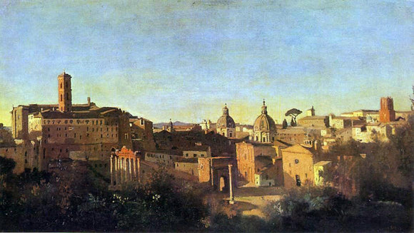 Jean-Baptiste-Camille Corot The Forum Seen from the Farnese Gardens, Evening - Canvas Art Print
