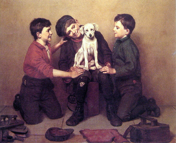 John George Brown The Foundling - Canvas Art Print