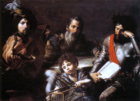 Valentin De boulogne The Four Ages of Man - Canvas Art Print