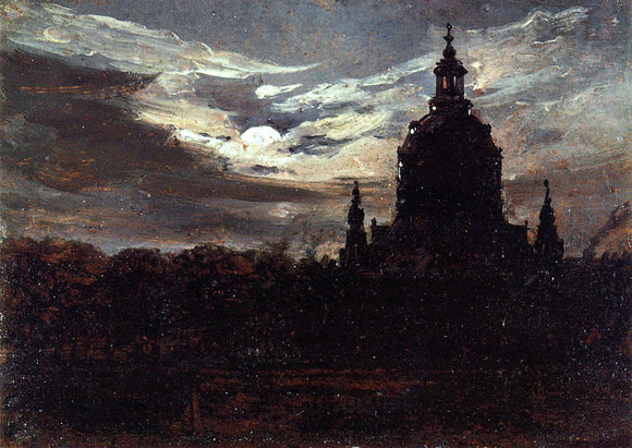 Johan Christian Claussen Dahl The Frankenkirche, Dresden - Canvas Art Print